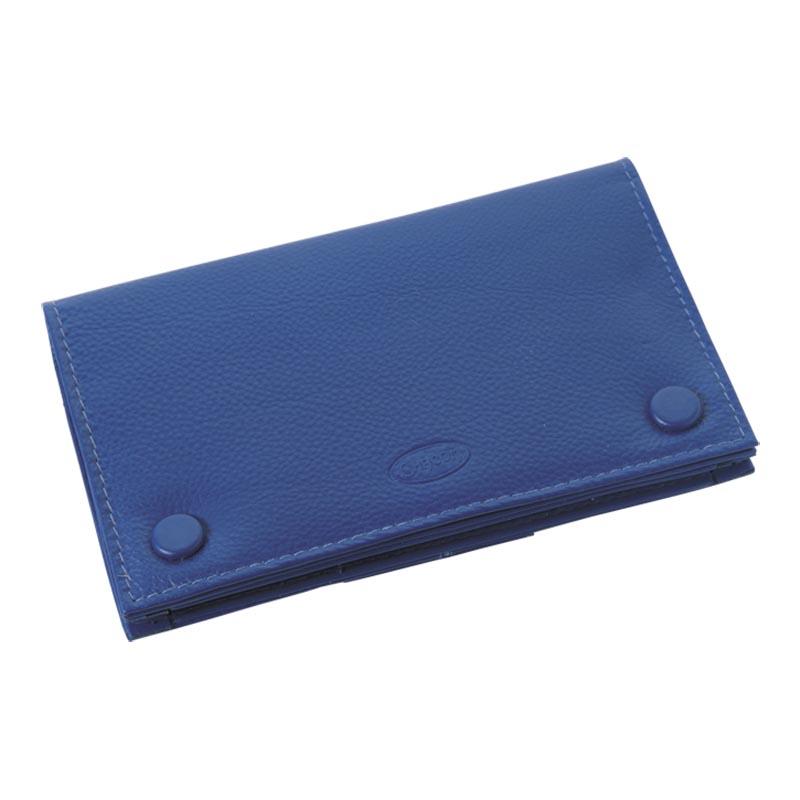 シャコム・ボタン付きポーチ ブルー